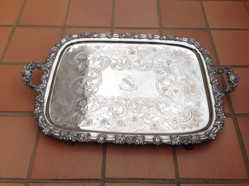 19th Century Silver Plated Engraved And Crested Tray