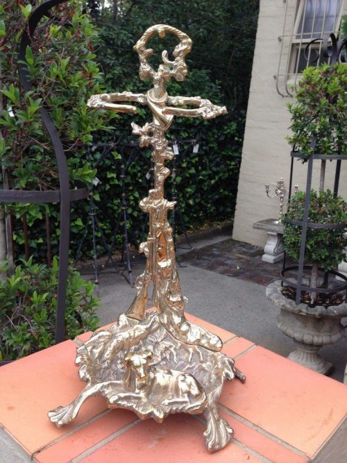"Victorian Brass ""Hunting Dog"" Umbrella Stand"