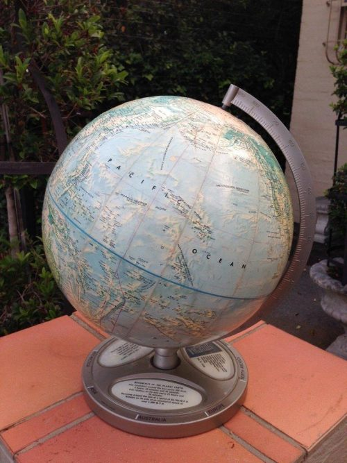 Vintage Rand Mcnally World Portrait Globe On Metal Base Still Depicting Rhodesia