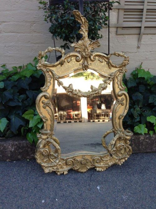 A 19TH C Gilt Wood French Rococo Style Mirror Wreath Bouquet and Two Candle Scones