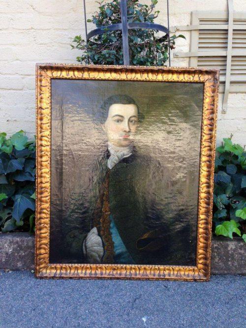 ANTIQUE PORTRAIT OF AN 18TH CENTURY GENTLEMAN