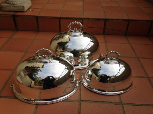 Graduated set of 3 silver plated food domes