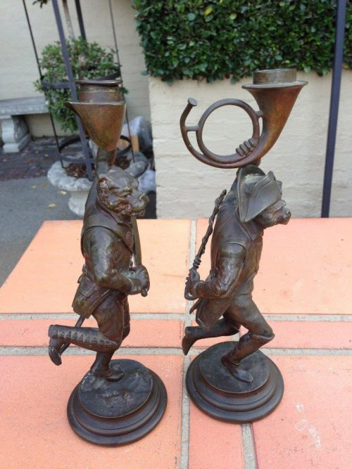 Pair French Military Themed Bronze Candlesticks Signed DaubreeAge: C1850/60