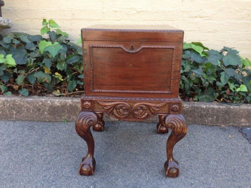Victorian mahogany lead lined wine cooler with paw feet