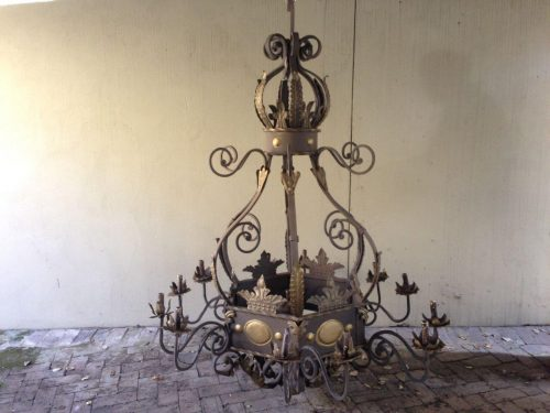 A Large Hexagonal base Wrought Iron Hand painted Chandelier with crown detail