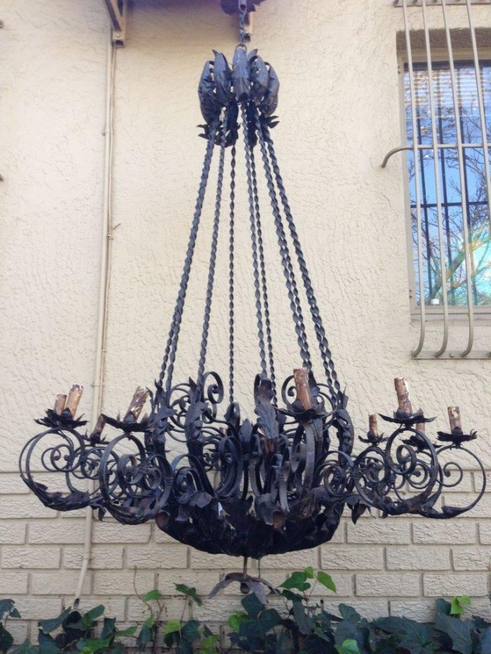 Extra large size wrought iron chandelier