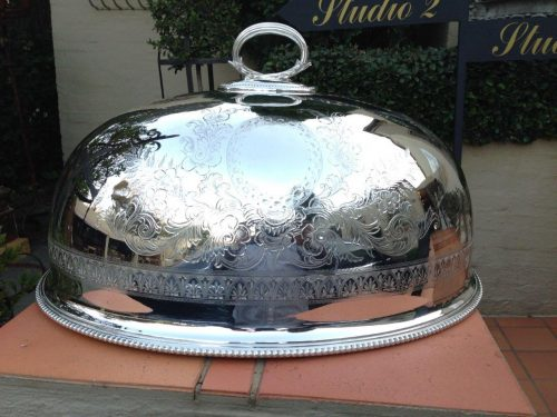 Large Victorian Mappin & Webb silver plated meat dome