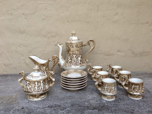 11 piece Capodimonte coffee set. Coffee pot