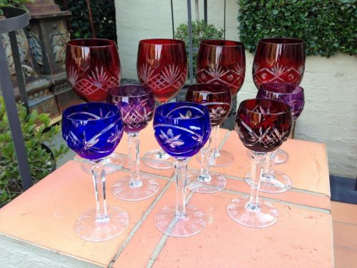 Set Of 6 Cut Crystal Harlequin Hock Glasses And Set Of 4 Red Cut Crystal Wine Goblets