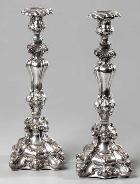 A Pair Of Electroplated Candlesticks