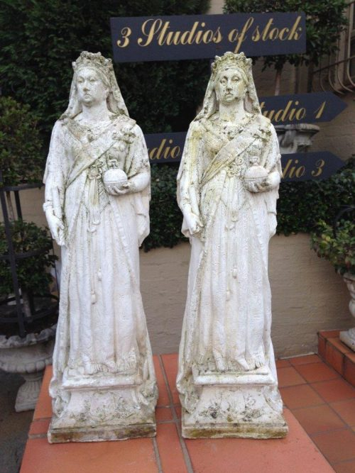 A Pair Of Statues Of Queen Victoria. 600mm High. Quality 30 Year Copy Of Circa 1900 Original From Sri Lanka