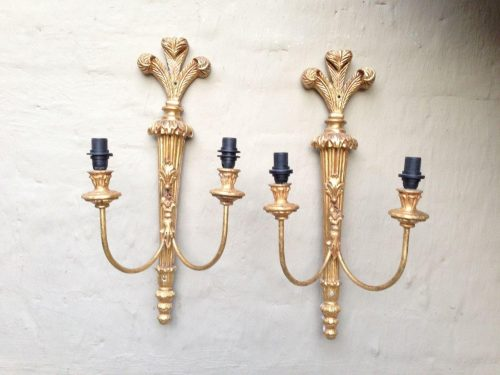 Pair of Carved and Gilded Double Arm Wooden Wall Sconce Lights
