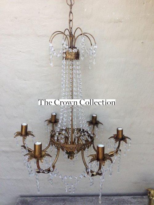 Vintage Glass/Crystal Chandelier - 6 Arm