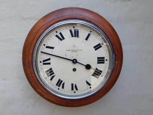Antique Schultis & Schwar Solid Wood German Made Station Clock. 8 Days Winding
