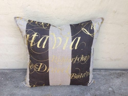 Imported Linen With Stripe and Hand Painted Script Fabric Cushions - ND