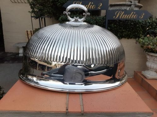 Silver-plate food dome