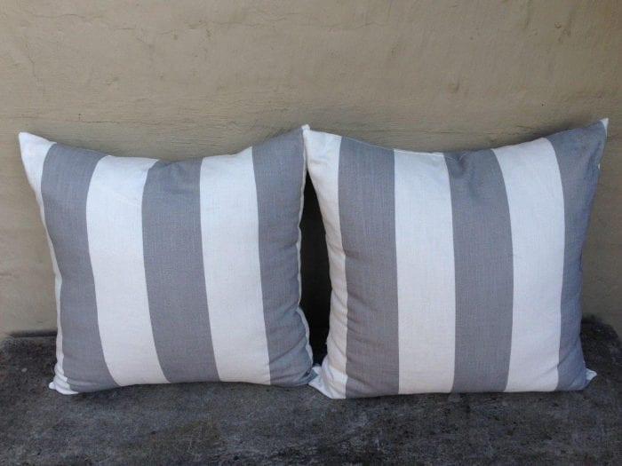 Grey and White Stripe Cushions 550 x 550 ND