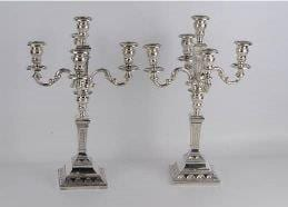 Pair of 835 Portuguese silver five light candelabra