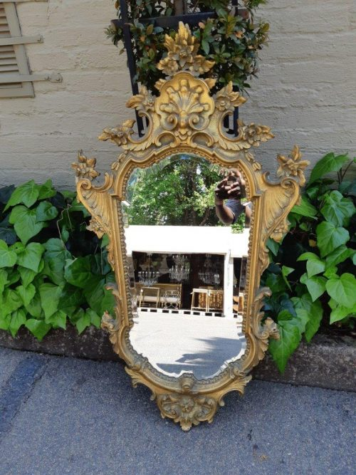 A French Rococo Gilded Ornate Bevelled Mirror