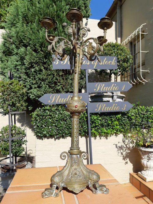 Original Brass Large Church Candelabra With Inlaid Coloured Glass On Dragons Feet Circa 1900