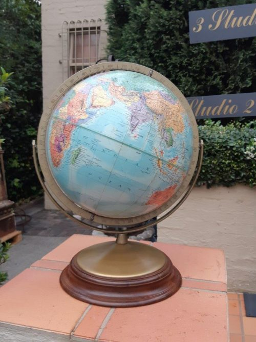 Reploge Stereo Relief Globe with Substantial Wooden Base Made In U.S.