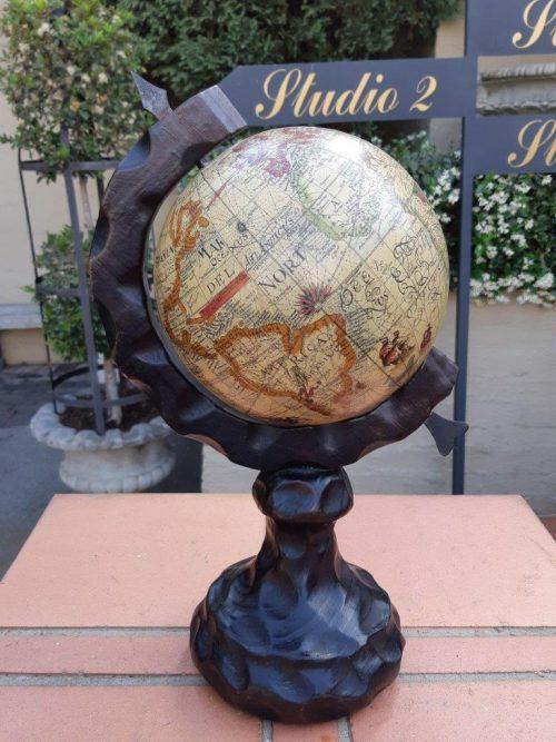 Mid Century Spanish Carved Wooden World Globe