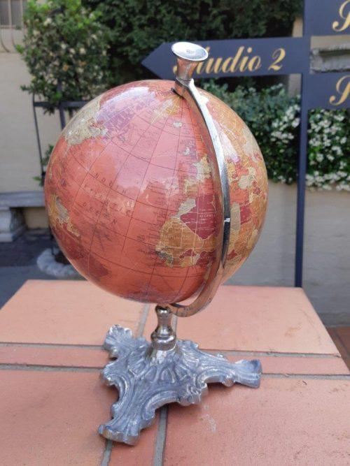 Vintage Rotating World Globe On A Spelter Base
