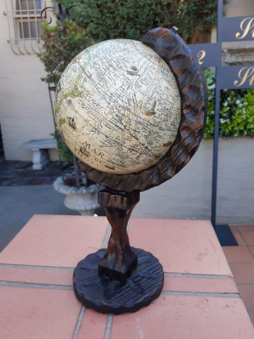 Vintage Witco Style Mid Century Spanish Wood Carved Old World Globe
