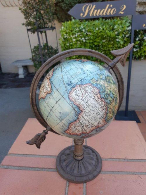 Vintage 1745 French Globe With Cast Arrow Stand Globe - Nd
