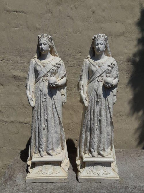 Pair of Statues of Queen Victoria. Quality 30 Year Copy of Circa 1900 Original