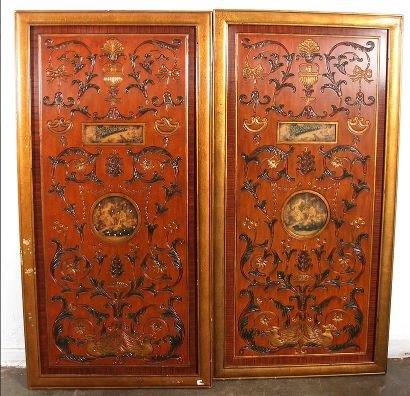 Pair of Theodore Alexander George III style ochre lacquer and gilt carved with inset decoupage landscape panels