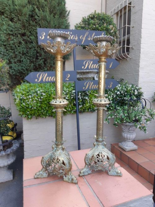 Pair Antique Alter Candle Holders