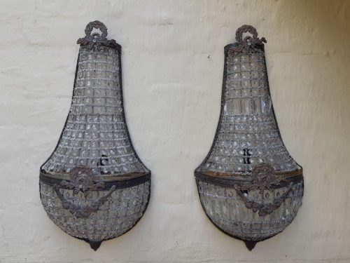 Pair of Cut Glass & Metal Wall Sconces