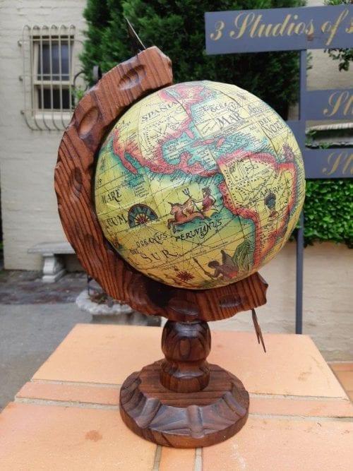 Vintage Old World Globe On Carved Oak Wooden Stand