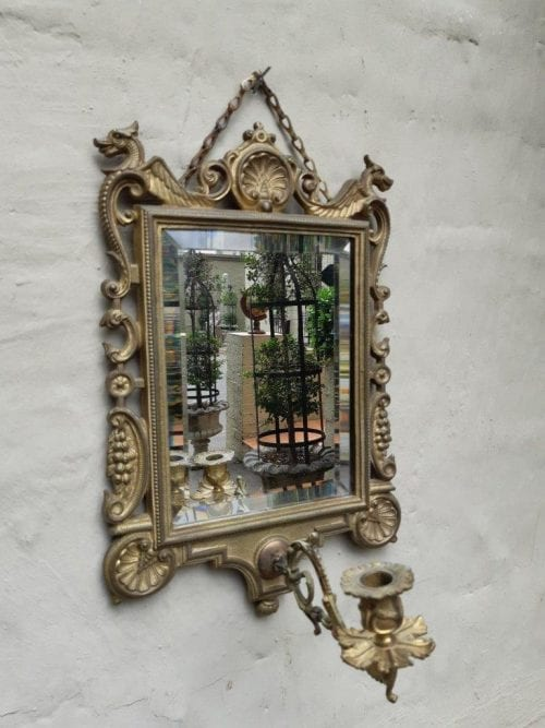 Antique Brass Bevelled Mirror With Candle Holder