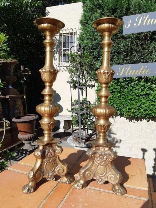 A Pair Antique brass candlesticks Baroque Style