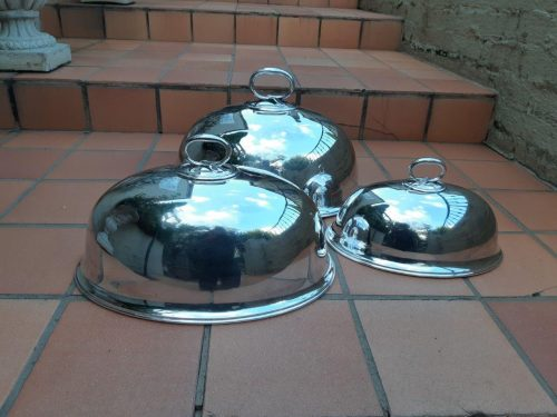 A Set Of Three Graduated Silverplate Food Domes By Elkington & Co