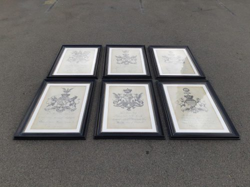 A Set of 6 English Crests of large size prints