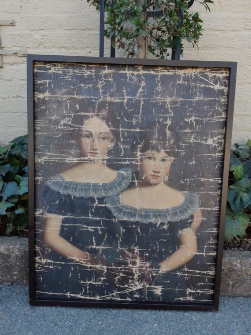Framed Aged Print of Sisters