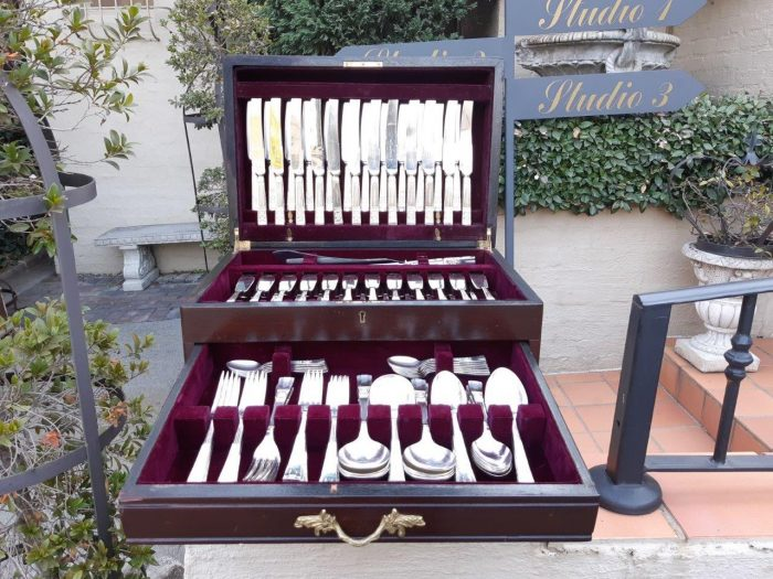 Twelve Place Silver-Plate Cutlery Set in a Canteen