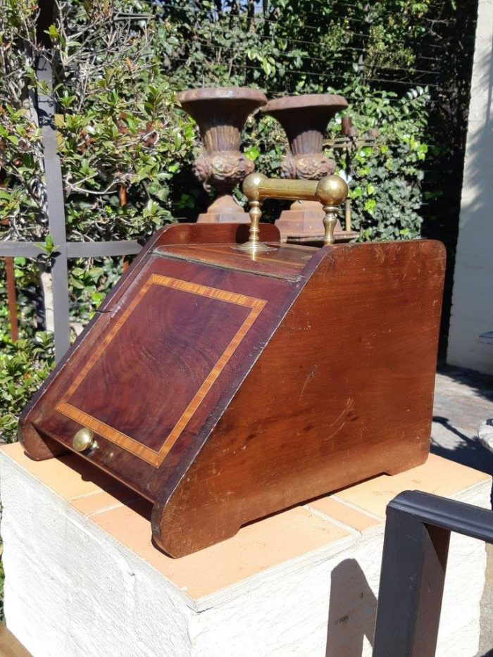 Victorian Mahogany Coal Scuttle with Brass Handles with Lead Liner and a Brass Scoop