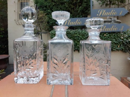 Set of 3 Crystal Decanters for Whiskey
