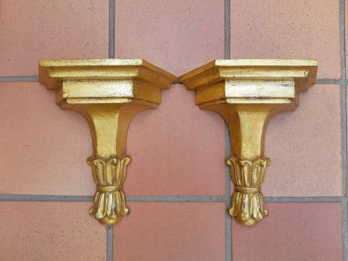 A Pair of Carved and Gilded Wall Sconces