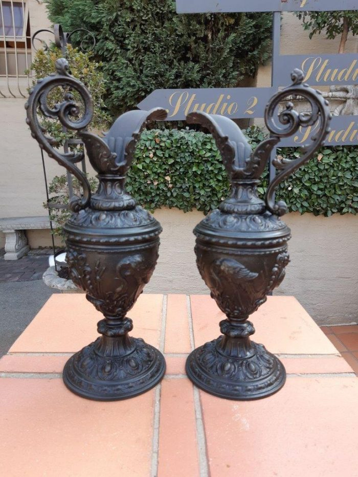 19th Century Antique Rare Pair Of Classic French Bronze Patina Spelter Pitchers On Hand Carved Wooden Bases