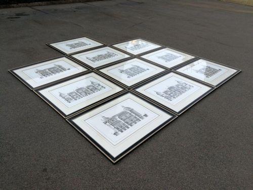 Set Of 10 Framed Architectural Prints