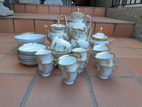 White And Gold French Napoleon Tea And Coffee Set Comprising Of 12 Cups & Saucers