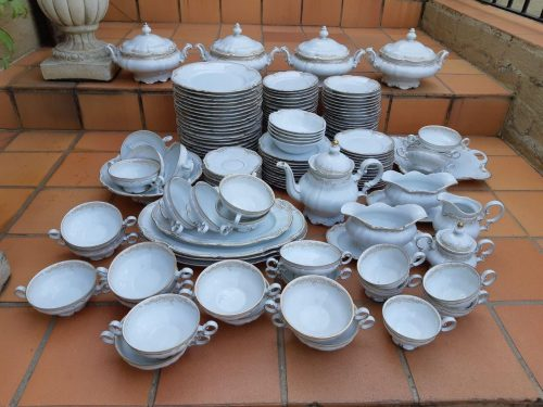 Mid 20th Century Hutschenreuther Sylvia Porcelain Dinner/Tea/Coffee Service. Printed Marks - Nd
