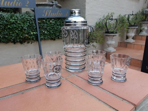 An 8-piece Czech Art Deco Crystal Cocktail Set circa 1930s – plus 6 x matching shot glasses(Minor nicks and chip to 2 x glasses)