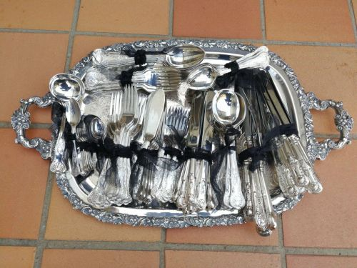 A 2--Th Century Post War King's Pattern Silver Plate 12-Setting Comprising Of 128 Pieces (Tray Not Included)