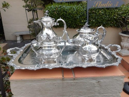 A Victorian silver plate John Turnton four (4) piece tea set on a Marlborough Old Sheffield two handled silver plate tray
